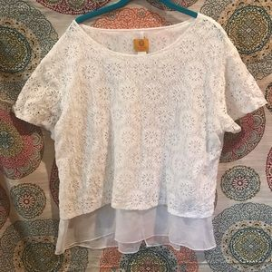 Ruby Road Petite XL White Lace Sheer Lined Top New